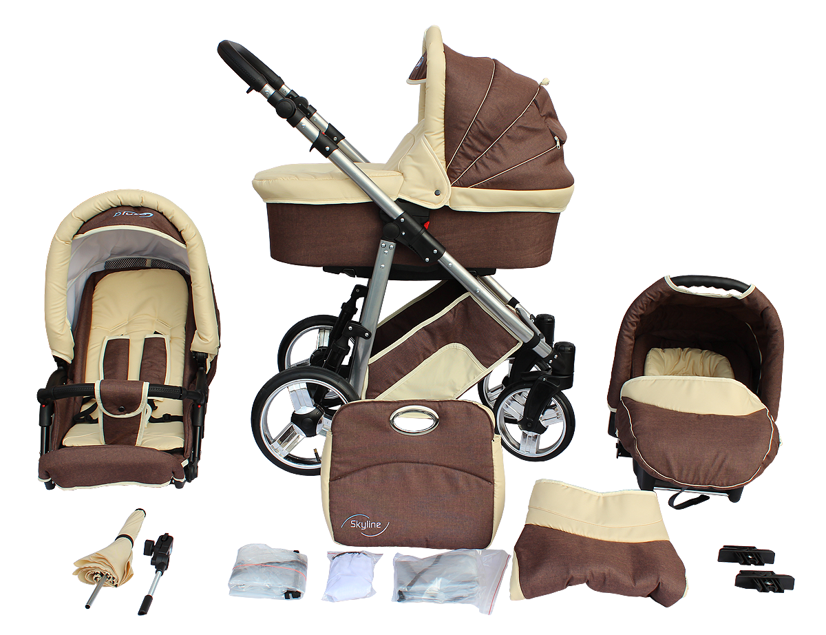 Baby Pram Complete Travel System Pushchair 3in1 Car Seat