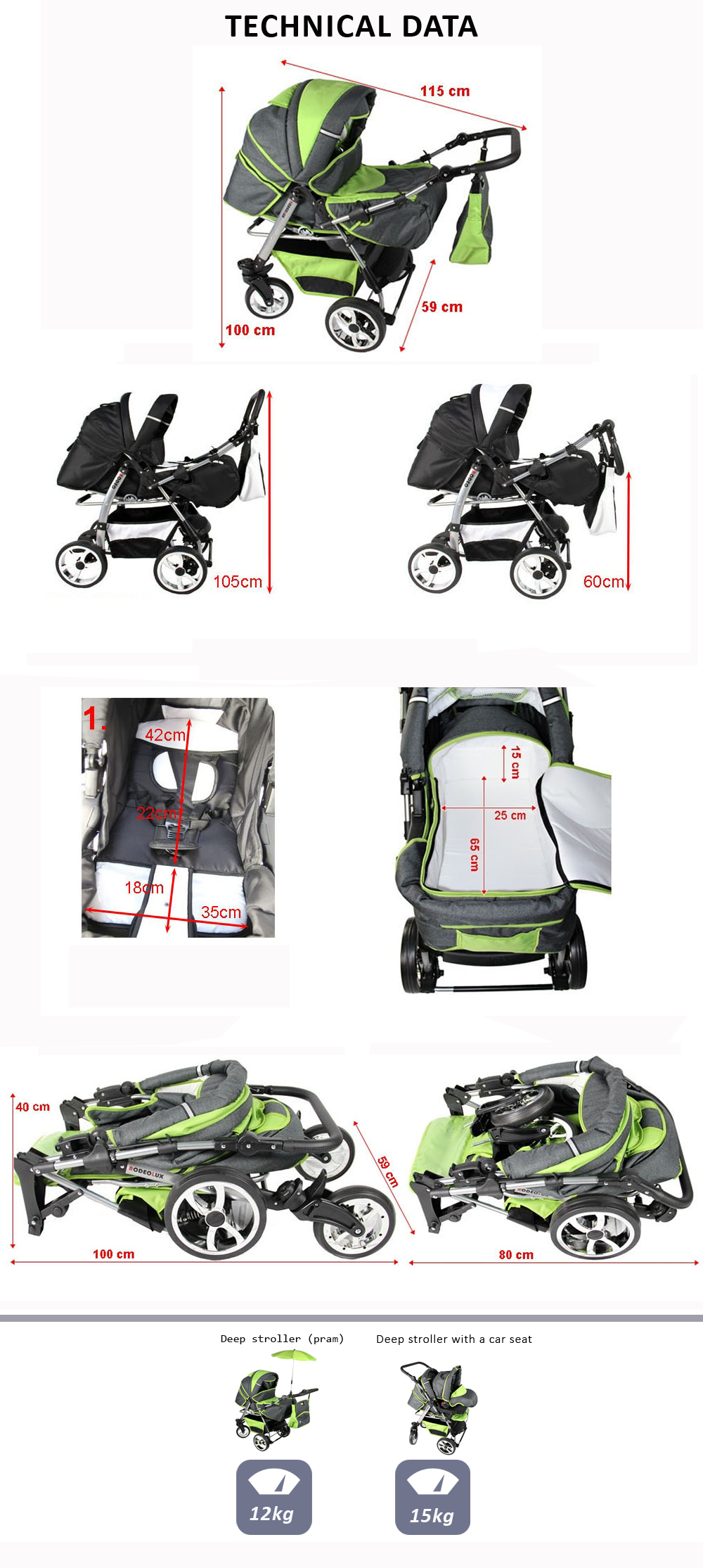 Baby Pram Stroller Pushchair Car Seat Carrycot Travel